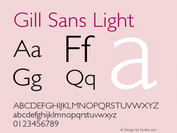 Gill Sans Light Version 001.000图片样张