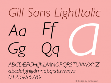 Gill Sans Light Italic Version 001.000图片样张