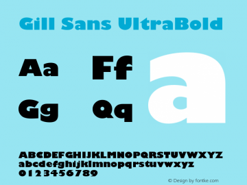 Gill Sans Ultra Bold Version 001.000图片样张