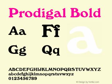 Prodigal Bold Font Version 2.6; Converter Version 1.10 Font Sample