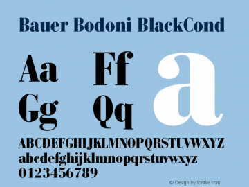 Bauer Bodoni CE Black Cond Version 001.000图片样张