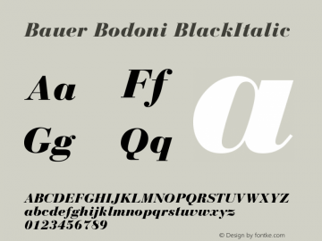 Bauer Bodoni CE Black Italic Version 001.000图片样张
