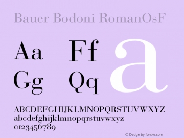 Bauer Bodoni Roman Oldstyle Figures Version 001.000图片样张