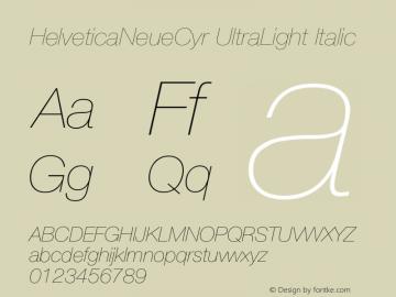 HelveticaNeueCyr-UltraLightItalic 001.000图片样张