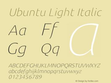 Ubuntu Light Italic Version 0.80 Font Sample