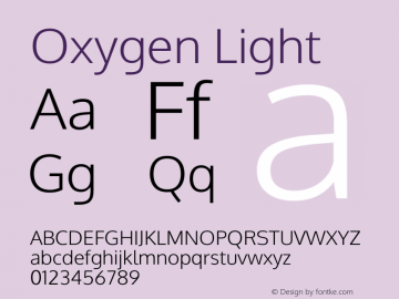 Oxygen Light Version Release 0.2.3 webfont图片样张