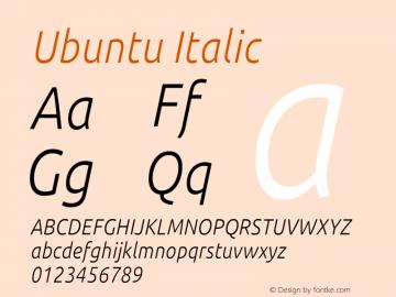Ubuntu Italic Version 0.80 December 7, 2014 Font Sample
