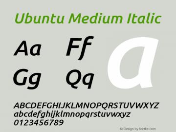 Ubuntu Medium Italic Version 0.80 December 7, 2014 Font Sample
