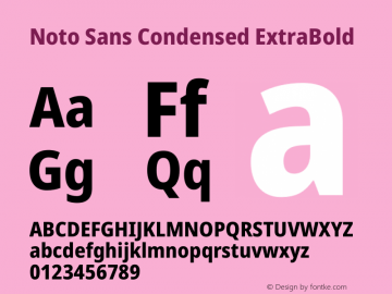 Noto Sans Condensed ExtraBold Version 2.000图片样张