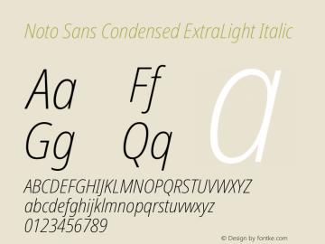 Noto Sans Condensed ExtraLight Italic Version 2.000图片样张