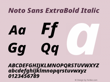 Noto Sans ExtraBold Italic Version 2.000图片样张