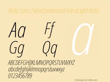 Noto Sans ExtraCondensed ExtraLight Italic Version 2.000图片样张