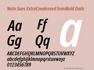 Noto Sans ExtraCondensed SemiBold Italic Version 2.000图片样张
