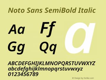 Noto Sans SemiBold Italic Version 2.000图片样张