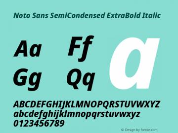 Noto Sans SemiCondensed ExtraBold Italic Version 2.000图片样张