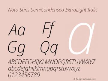Noto Sans SemiCondensed ExtraLight Italic Version 2.000图片样张