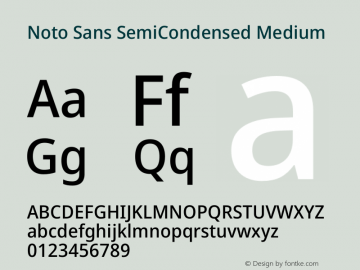 Noto Sans SemiCondensed Medium Version 2.000图片样张