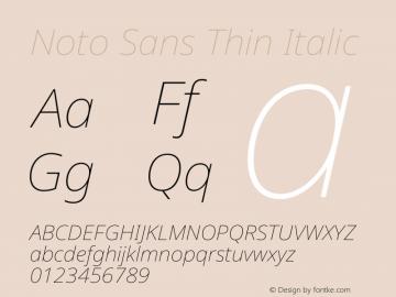 Noto Sans Thin Italic Version 2.000图片样张