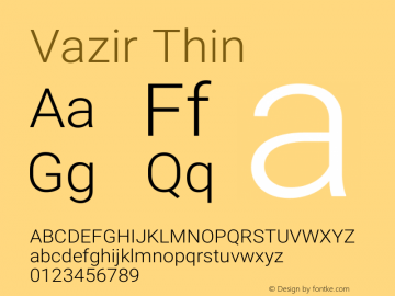 Vazir Thin Version 17.0.0图片样张