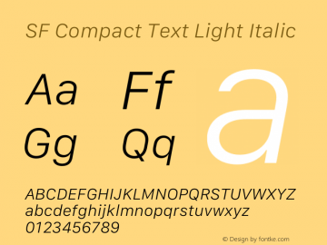 SF Compact Text Light Italic 12.0d4e10图片样张