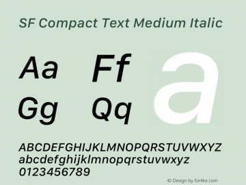 SF Compact Text Medium Italic 12.0d4e10图片样张