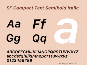 SF Compact Text Semibold Italic 12.0d4e10图片样张