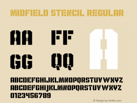 Midfield Stencil Regular Version 1.001图片样张
