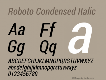 Roboto Condensed Italic Version 1.200311; 2013图片样张
