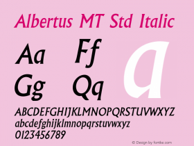 AlbertusMTStd-Italic Version 1.000 2006 initial release图片样张