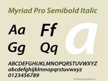 Myriad Pro Semibold Italic