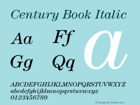 Century-BookItalic Version 2.031;PS 002.000;hotconv 1.0.50;makeotf.lib2.0.16970图片样张