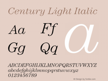 Century-LightItalic Version 2.031;PS 002.000;hotconv 1.0.50;makeotf.lib2.0.16970图片样张