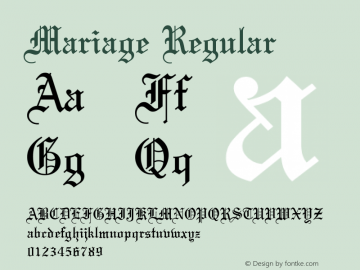 Mariage Regular Converted from U:\HOME\PEARCE\AT\TTFONTS\ST000040.TF1 by ALLTYPE图片样张