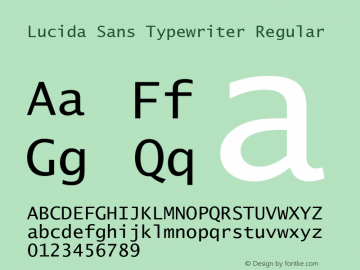 Lucida Sans Typewriter Version 1.00图片样张