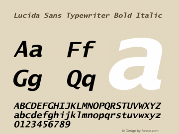 Lucida Sans Typewriter Bold Italic Version 1.00图片样张