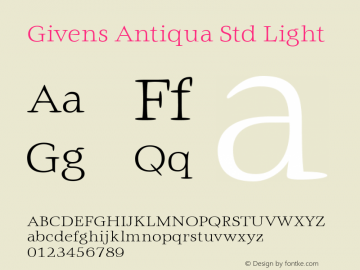 Givens Antiqua Std Light Version 1.00图片样张