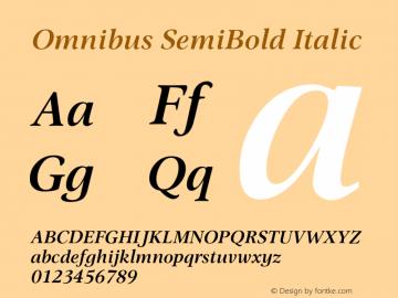 Omnibus-SemiBoldItalic Version 1.00图片样张