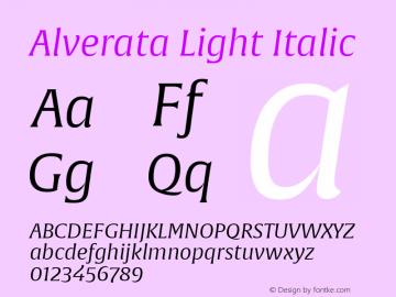 Alverata Lt Italic Version 1.001图片样张