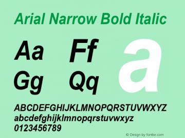 Arial Narrow Bold Italic Version 2.0 - May 17, 1996图片样张