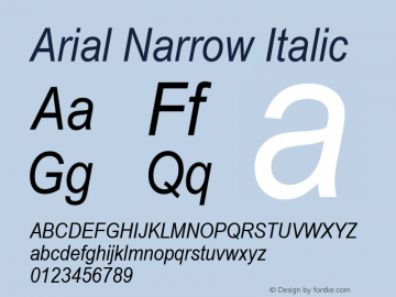 Arial Narrow Italic Version 2.0 - May 17, 1996图片样张