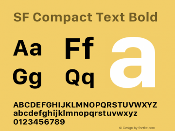 SF Compact Text Bold Version 1.00 December 6, 2016, initial release图片样张