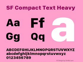 SF Compact Text Heavy Version 1.00 December 6, 2016, initial release图片样张