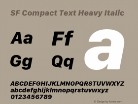 SF Compact Text Heavy Italic Version 1.00 December 6, 2016, initial release图片样张