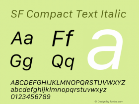 SF Compact Text Italic Version 1.00 December 6, 2016, initial release图片样张