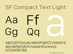SF Compact Text Light Version 1.00 December 6, 2016, initial release图片样张