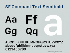 SF Compact Text Semibold Version 1.00 December 6, 2016, initial release图片样张