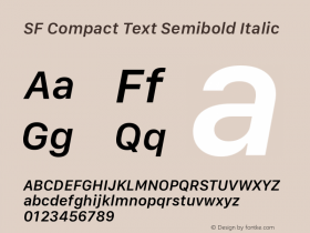 SF Compact Text Semibold Italic Version 1.00 December 6, 2016, initial release图片样张