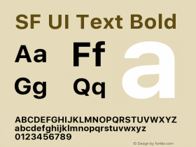 SF UI Text Bold Version 1.00 December 6, 2016, initial release图片样张