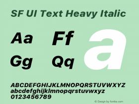 SF UI Text Heavy Italic Version 1.00 December 6, 2016, initial release图片样张
