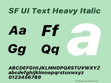 SF UI Text Heavy Italic Version 1.00 December 6, 2016, initial release图片样张